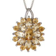 Genuine Citrine Starburst Pendant Necklace
