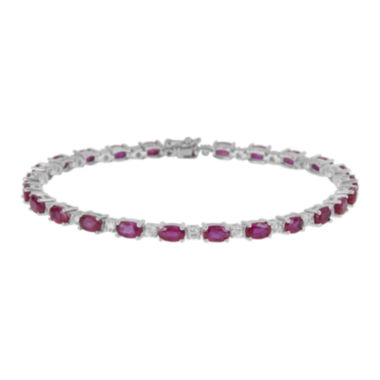jcpenney.com | LIMITED QUANTITIES  Lead Glass-Filled Ruby and Genuine White Sapphire Tennis Bracelet