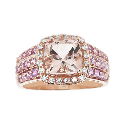LIMITED QUANTITIES Genuine Morganite, Pink Sapphire and Diamond Ring