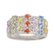 CLOSEOUT! Genuine Multicolor Sapphire  Sterling Silver Ring