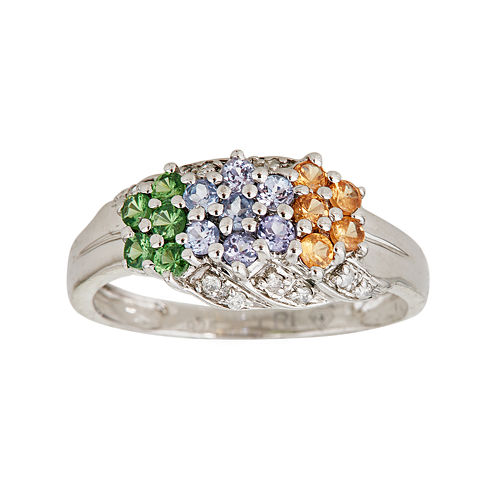 LIMITED QUANTITIES  Genuine Tanzanite, Tsavorite and Garnet Triple-Flower Ring