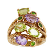 Genuine Amethyst and Peridot Ring