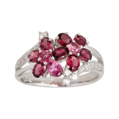 jcpenney.com | LIMITED QUANTITIES  Genuine Pink Tourmaline and White Sapphire Double-Flower Ring