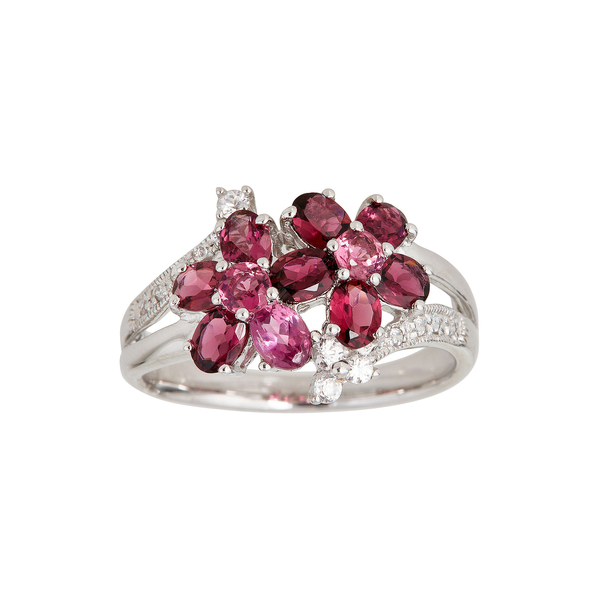 LIMITED QUANTITIES Genuine Pink Tourmaline and White Sapphire Double-Flower Ring