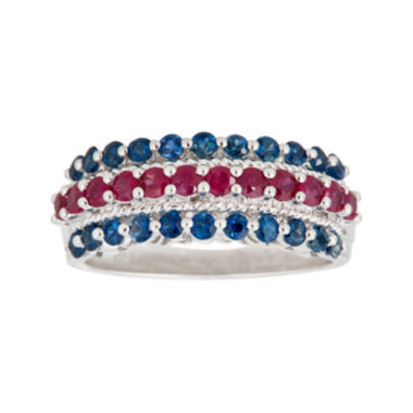 jcpenney.com | LIMITED QUANTITIES  Genuine Blue Sapphire and Lead Glass-Filled Ruby Triple-Row Ring