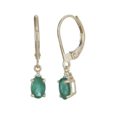 jcpenney.com | LIMITED QUANTITIES Genuine Emerald and Diamond-Accent 10K Yellow Gold Drop Earrings