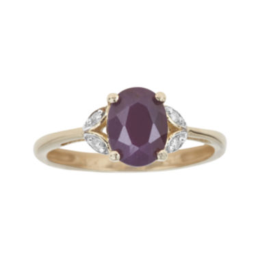 jcpenney.com | LIMITED QUANTITIES  Lead Glass-Filled Ruby and Diamond-Accent 10K Yellow Gold Ring