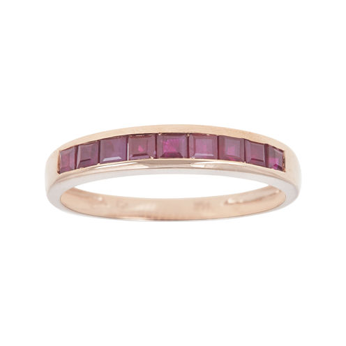 LIMITED QUANTITIES  Channel-Set Lead Glass-Filled Ruby 14K Rose Gold Band