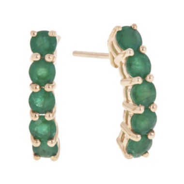 jcpenney.com | LIMITED QUANTITIES  Genuine Emerald 14K Yellow Gold Linear Earrings