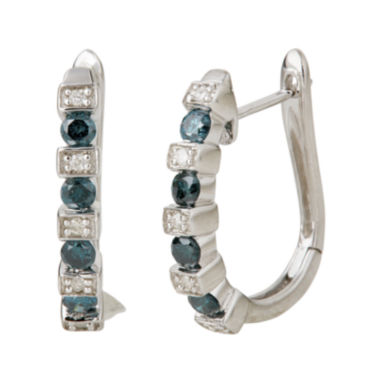 jcpenney.com | LIMITED QUANTITIES  1/2 CT. T.W. White and Color-Enhanced Blue Diamond Half Hoop Earrings