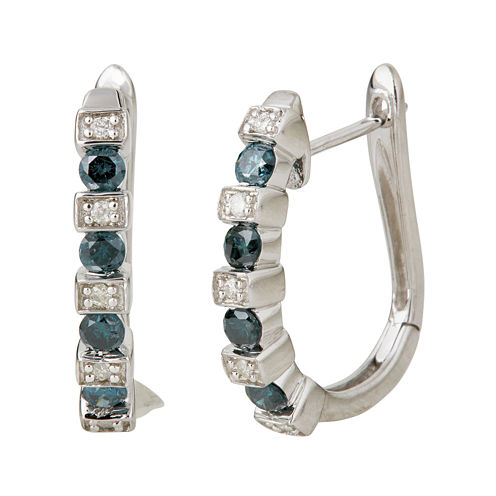 LIMITED QUANTITIES  1/2 CT. T.W. White and Color-Enhanced Blue Diamond Half Hoop Earrings