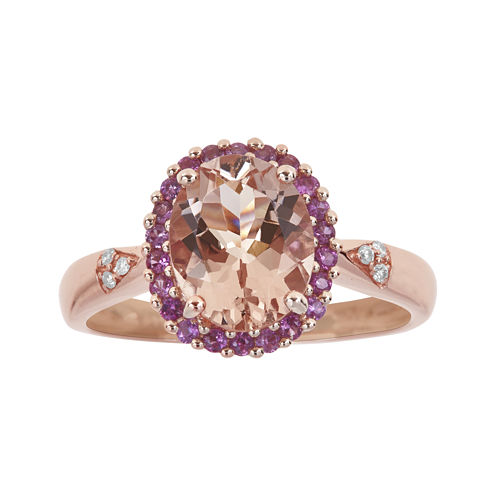 LIMITED QUANTITIES  Genuine Morganite, Pink Sapphire and Diamond-Accent Ring