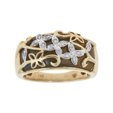 jcpenney.com | LIMITED QUANTITIES  Genuine Tiger's Eye and Diamond-Accent Flower Ring