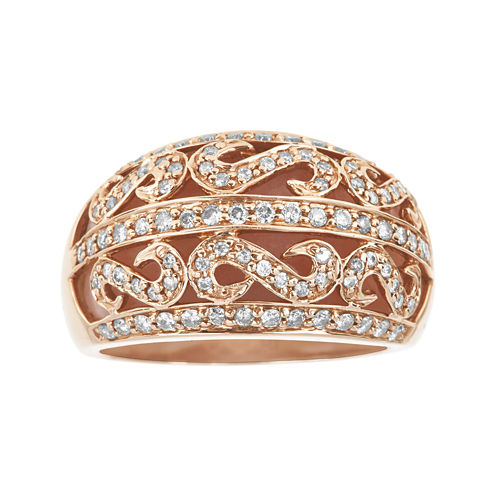 LIMITED QUANTITIES  Genuine Pink Opal and 1/2 CT. T.W. Diamond Dome Ring