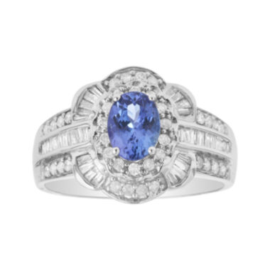jcpenney.com | LIMITED QUANTITIES  Genuine Tanzanite and 1/4 CT. T.W. Diamond 14K White Gold Ring