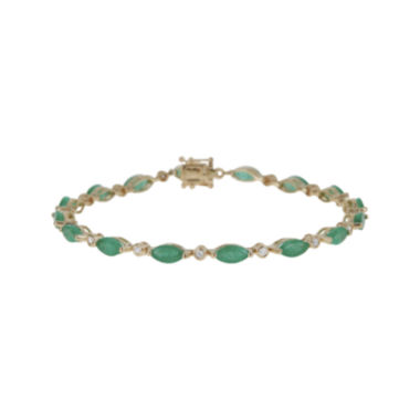jcpenney.com | LIMITED QUANTITIES  Genuine Emerald and 1/4 CT. T.W. Diamond 14K Yellow Gold Bracelet