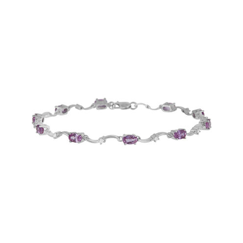 LIMITED QUANTITIES  Genuine Pink Sapphire and 1/6 CT. T.W. Diamond 14K White Gold Bracelet