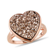 Heart-Shaped Lab-Created Brown Druzy Ring