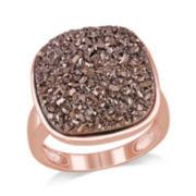 Cushion-Cut Lab-Created Brown Druzy Ring