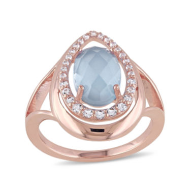 jcpenney.com | Genuine Chalcedony and White Topaz Rose Gold Over Silver Ring