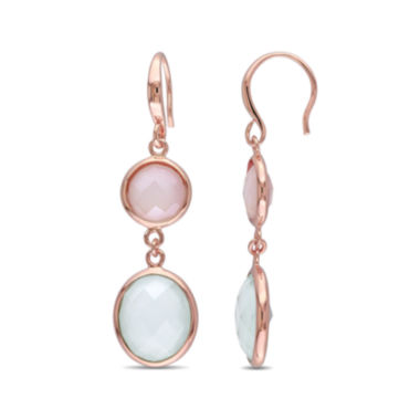 jcpenney.com | Genuine Green and Pink Chalcedony Rose Gold Over Silver Double-Drop Earrings