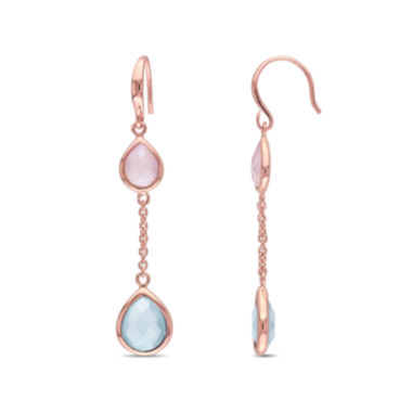 jcpenney.com | Pear-Shaped Genuine Blue and Pink Chalcedony Rose Gold Over Silver Double-Drop Earrings
