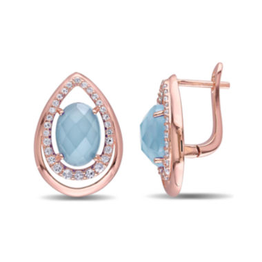 jcpenney.com | Genuine Chalcedony and White Topaz Rose Gold Over Silver Earrings