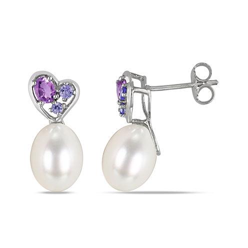 Cultured Freshwater Pearl, Genuine Amethyst and Genuine Tanzanite Earrings