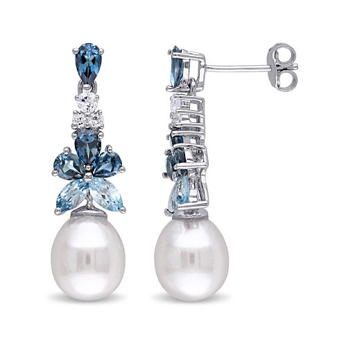 Cultured Freshwater Pearl, Genuine London and Sky Blue Topaz Linear Earrings