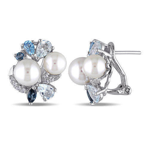Cultured Freshwater Pearl, Genuine London and Sky Blue Topaz Earrings