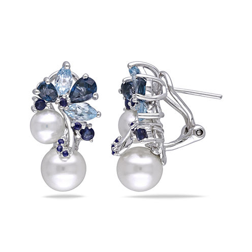 Cultured Freshwater Pearl, Genuine London and Sky Blue Topaz Earrings