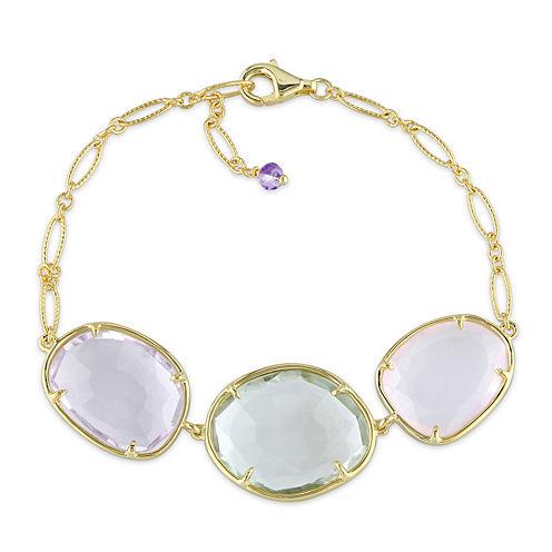 Genuine Amethyst, Genuine Green and Pink Quartz Gold Over Silver Bracelet