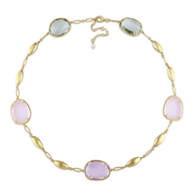 jcpenney.com | Genuine Amethyst, Genuine Green and Pink Quartz Gold Over Silver Station Necklace