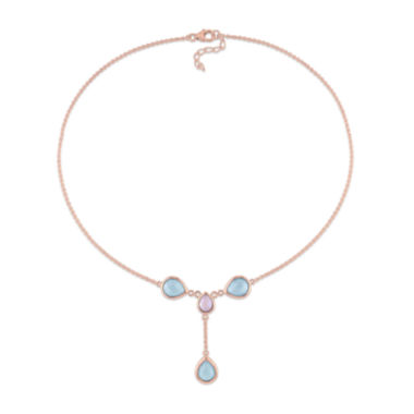 jcpenney.com | Genuine Blue and Pink Chalcedony Rose Gold Over Silver Y-Necklace