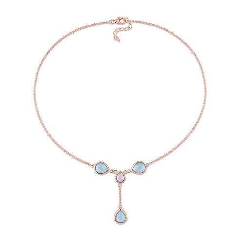 Genuine Blue and Pink Chalcedony Rose Gold Over Silver Y-Necklace