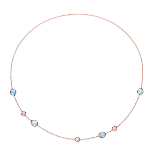 Genuine Blue and Pink Chalcedony Rose Gold Over Silver Necklace