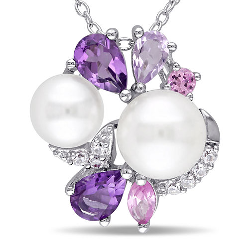 Cultured Freshwater Pearl and Genuine Amethyst Pendant Necklace