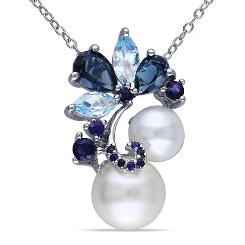 Cultured Freshwater Pearl, Genuine London and Sky Blue Topaz Pendant Necklace
