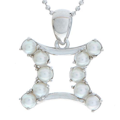 Gemini Zodiac Cultured Freshwater Pearl Sterling Silver Pendant Necklace