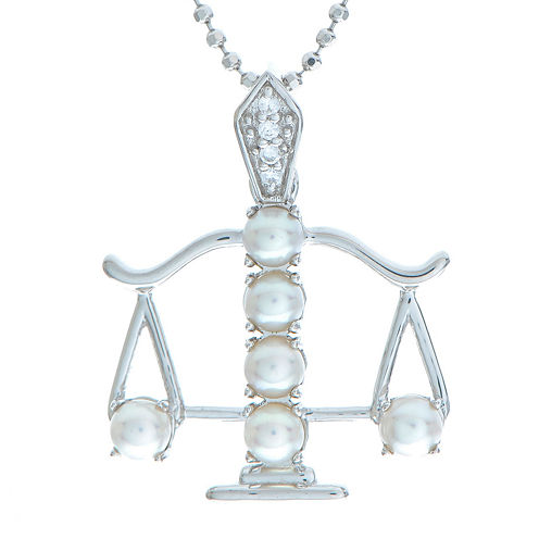 Libra Zodiac Cultured Freshwater Pearl and CZ Sterling Silver Pendant Necklace