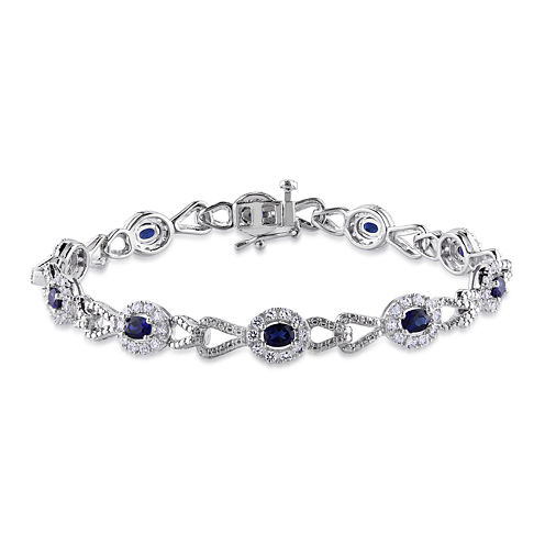 Lab-Created Blue and White Sapphire Sterling Silver Bracelet