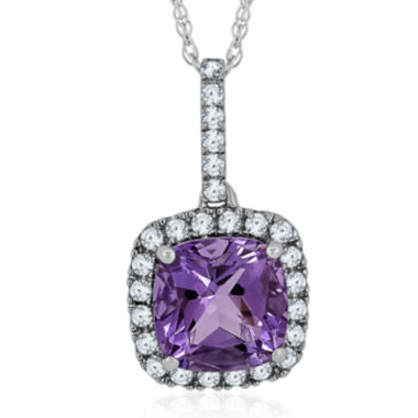 jcpenney.com | Genuine Amethyst and Lab-Created White Sapphire Pendant Necklace