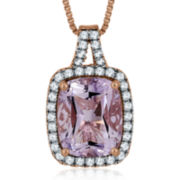 Genuine Rose de France Amethyst and Lab-Created White Sapphire Pendant Necklace