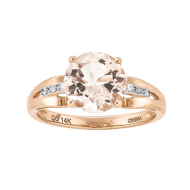 jcpenney.com | Genuine Morganite and Diamond-Accent 14K Rose Gold Ring