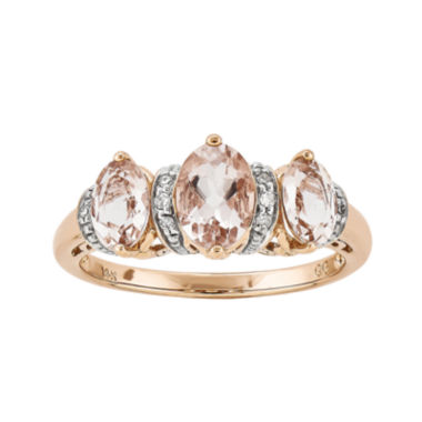 jcpenney.com | Oval Genuine Morganite and Diamond-Accent 14K Rose Gold 3-Stone Ring