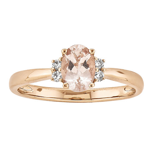 Oval Genuine Morganite and Diamond-Accent 14K Rose Gold Ring