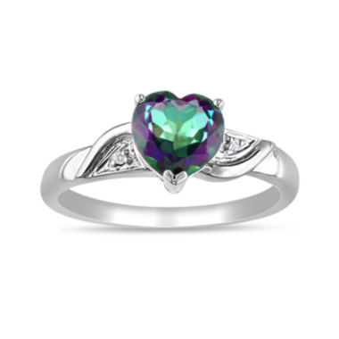 jcpenney.com | Heart-Shaped Genuine Green Topaz and Diamond-Accent 10K White Gold Heart Ring