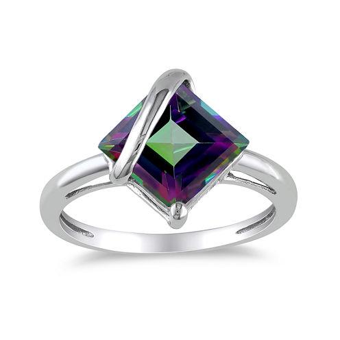Square Genuine Green Topaz 10K White Gold Ring