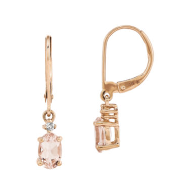 jcpenney.com | Oval Genuine Morganite and Diamond-Accent 14K Rose Gold Drop Earrings