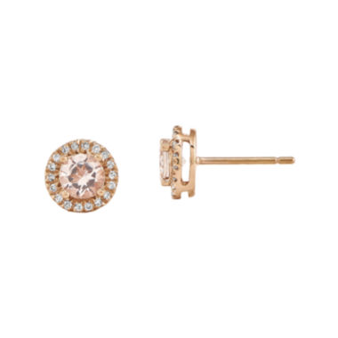 jcpenney.com | Genuine Morganite and 1/7 CT. T.W. Diamond 14K Rose Gold Halo Stud Earrings